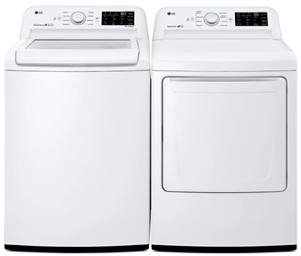 LG TOP LOAD WASHER & FRONT LOAD DRYER - WT7100CW, DLE7100W