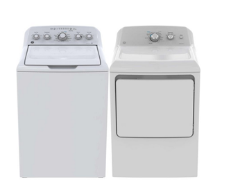 GE TOP LOAD WASHER & FRONT LOAD DRYER - GTW460BMMWW, GTD40EBMKWW