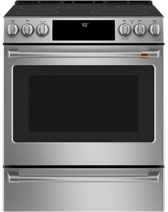 "Café™ 30"" Slide-In Front Control Radiant and Convection Range Stainless Steel"