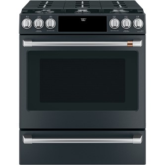 "Café™ 30"" Slide-In Front Control Gas Oven with Convection Range with Warming Drawer"