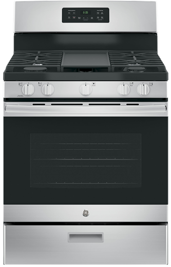 "GE 30"" Gas Freestanding Range with Broil Drawer Stainless Steel JCGBS66SEKSS"
