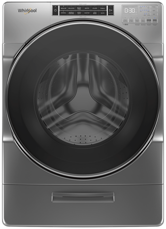 Whirlpool® 5.8 cu. ft. I.E.C. Front Load Washer with Load & Go™ XL Dispenser - Chrome Shadow